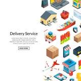Fond isométrique de logistique de vecteur et d'icônes de la livraison illustration libre de droits