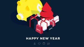 Fond isométrique moderne de bonne année Calibre de vecteur pour 2019 cartes cadeaux, pages Web promotionnelles, panneaux d'affich Image libre de droits