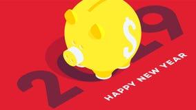 Fond isométrique moderne de bonne année jaune rouge porcin de côté de fond Cabine téléphonique conceptuelle pour 2019 conceptions Images stock