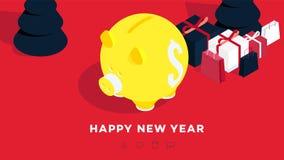Fond isométrique moderne de bonne année jaune rouge porcin de côté de fond Cabine téléphonique conceptuelle pour 2019 conceptions Image libre de droits
