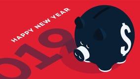 Fond isométrique moderne de bonne année Tirelire sur le fond rouge Cabine téléphonique conceptuelle pour 2019 conceptions Photographie stock