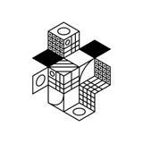 Fond isométrique moderne géométrique abstrait de composition illustration stock