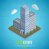 Fond isométrique plat d'immobiliers de ville avec Images libres de droits
