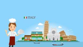 Fond italien de cuisine avec le chef de femme illustration de vecteur
