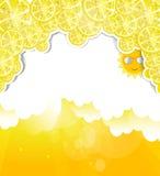 Fond jaune avec des éléments des citrons au t Image libre de droits