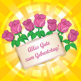 Fond jaune avec des roses - zum Geburtstag de gute d'Alles - heureuses illustration libre de droits
