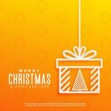 Fond jaune avec l'arbre de Noël à l'intérieur d'une conception de boîte-cadeau Photo stock