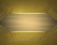 Fond jaune avec un cadre d'or Élément pour la conception Calibre pour la conception copiez l'espace pour la brochure d'annonce ou illustration de vecteur