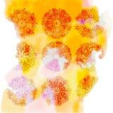 Fond jaune d'éclaboussure d'aquarelle avec la fleur du rangoli 9 illustration stock