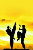 Fond jaune d'arts martiaux Image stock