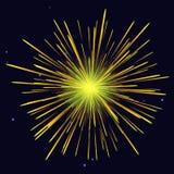 Fond jaune d'or rayonnant de vacances de feux d'artifice Image stock
