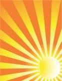 Fond jaune de rayon du soleil Photos stock