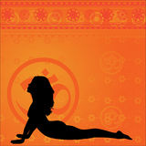 Fond jaune de yoga Image libre de droits