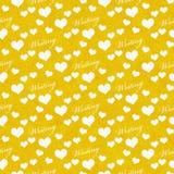 Fond jaune et blanc de répétition de modèle de tuile d'écriture d'amour d'I Photo libre de droits