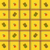 Fond jaune et cellulaire avec des jouets Photographie stock libre de droits