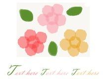 Fond jaune rouge-rose de peinture de fleur Photos stock