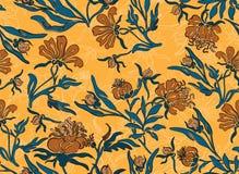 Fond jaune sans couture de fleur Photo libre de droits