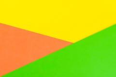 Fond jaune, vert et orange de papier de couleur Photo libre de droits