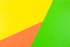 Fond jaune, vert et orange de papier de couleur Photos libres de droits