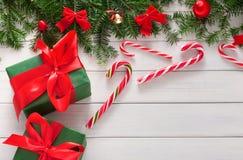 Fond joyeux de Noël, vue supérieure Images stock