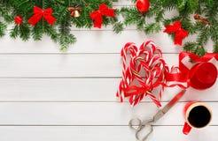 Fond joyeux de Noël, vue supérieure Photos stock