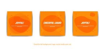 Fond joyeux gai Ensemble de fond orange de style de Memphis de vecteur pour des couvertures, carte de voeux, courrier social de m illustration de vecteur