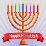 Fond judaïque heureux de concept de Hanoucca, style de bande dessinée illustration de vecteur