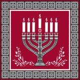 Fond juif de vacances avec le menorah - fond illustration stock