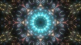 Fond kaléïdoscopique abstrait avec des formes géométriques rougeoyantes clips vidéos