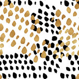 Fond à la mode sans couture de blog avec de l'or tiré par la main et le noir dedans Photos stock