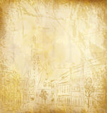 Fond (le vieux papier avec une vieille ville peinte) Image libre de droits