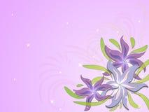 Fond lilas avec des fleurs et des ornements floraux illustration stock