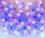 Fond lilas avec les fleurons bleus et roses Photo libre de droits