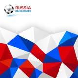 Fond lumineux abstrait blanc de rouge bleu de WebGeometric La Russie 2018 couleurs de drapeau Icône de ballon de football Illustr Photos stock