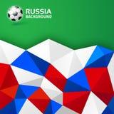 Fond lumineux abstrait géométrique La Russie 2018 couleurs de drapeau Icône de ballon de football Illustration de vecteur Images libres de droits