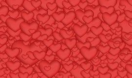 Fond lumineux beaucoup de coeurs rouges Images stock