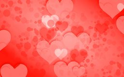 Fond lumineux beaucoup de coeurs rouges Image stock