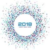Fond lumineux coloré de cadre de la nouvelle année 2017 Cadre rougeoyant de conception de nouvelle année de cercle de confettis illustration libre de droits