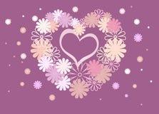 Fond lumineux des fleurs colorées sous forme de coeur Image libre de droits