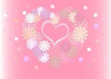 Fond lumineux des fleurs colorées sous forme de coeur Images libres de droits