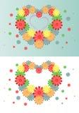 Fond lumineux des fleurs multicolores sous forme de coeur Photos stock
