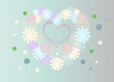Fond lumineux des fleurs multicolores sous forme de coeur Image stock