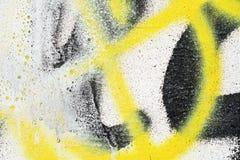 Fond lumineux noir jaune original Macro mur en gros plan, peint la vieille peinture Images stock
