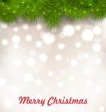 Fond lumineux par Noël avec la brindille réaliste de sapin illustration de vecteur