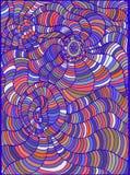 Fond lumineux, psychédélique, ethnique de style, contour bleu de couleur Photos stock
