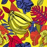 Fond lumineux tropical Conception sans couture de modèle illustration libre de droits
