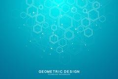 Fond médical abstrait Concept de la Science et de vecteur de connexion Rangée géométrique hexagonale avec le déplacement dynamiqu illustration stock