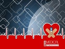 Fond médical avec le coeur d'ekg et la pilule bleue Photographie stock