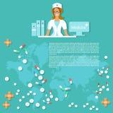 Fond médical de sourire d'infirmière de médecine et de pharmaceutiques Photographie stock libre de droits