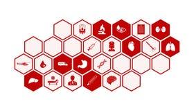 Fond médical et de santé d'icônes de vecteur Photos libres de droits